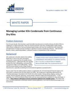 WHITE PAPER: Managing Lumber Kiln Condensate